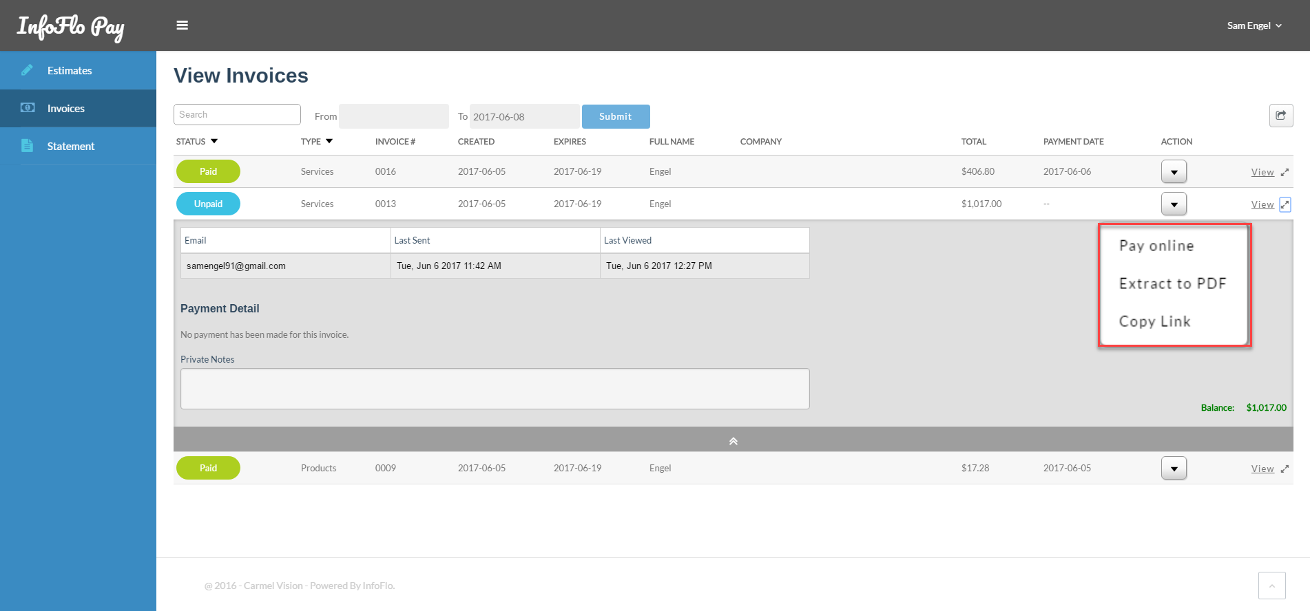InfoFlo Pay: Client Portal Invoices