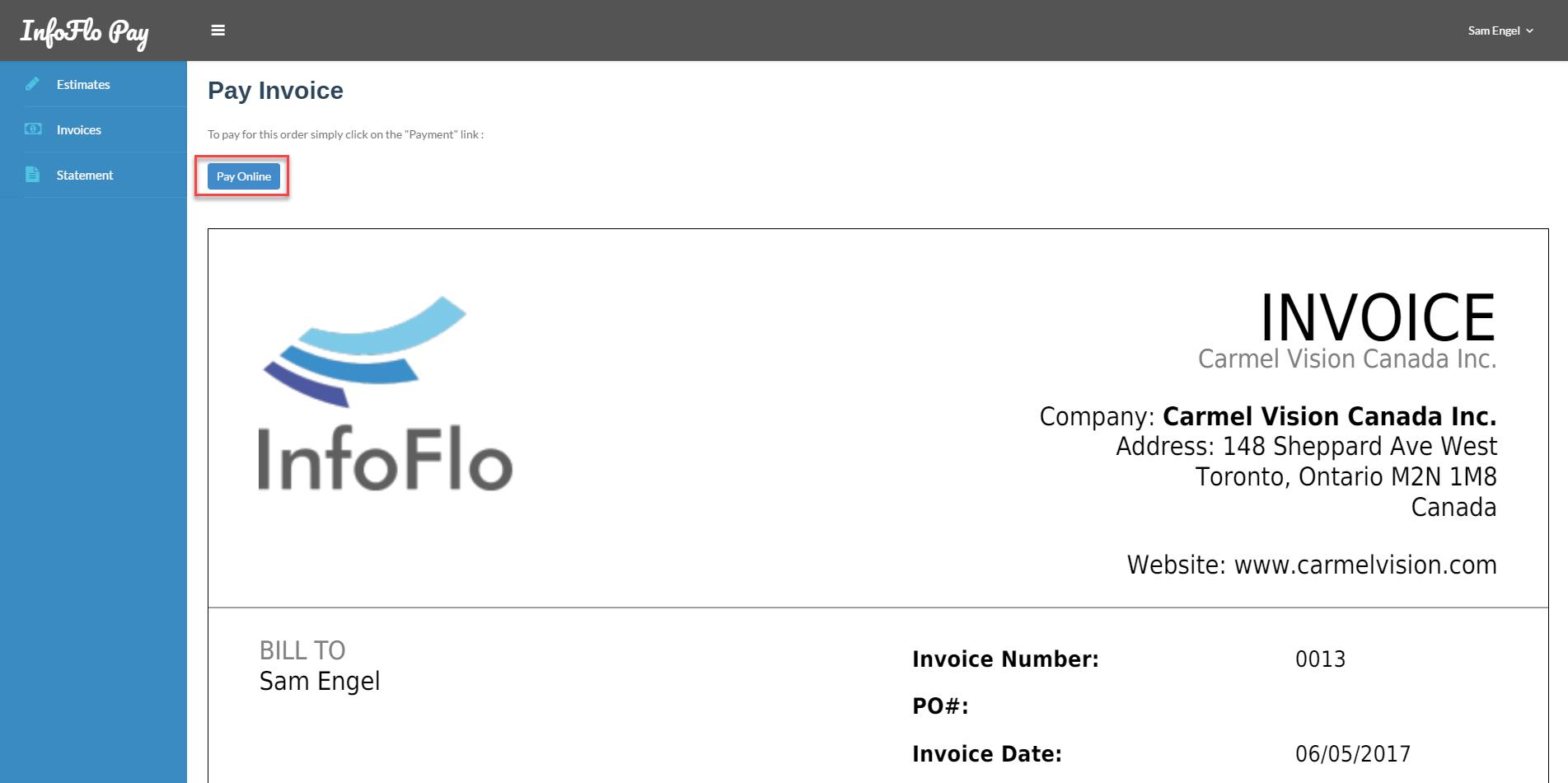 PayInvoiceOnline InfoFlo Pay - Online invoices inc