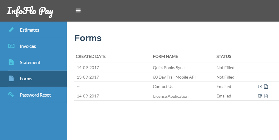 InfoFlo Pay: Forms