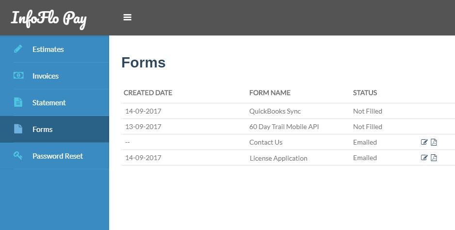 InfoFlo Pay: Forms
