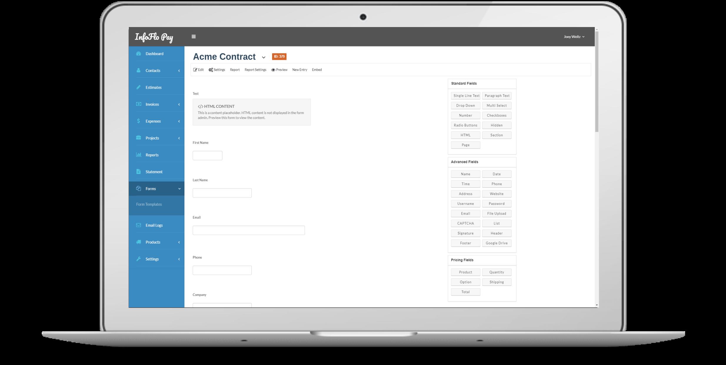 InfoFlo Pay Build Form