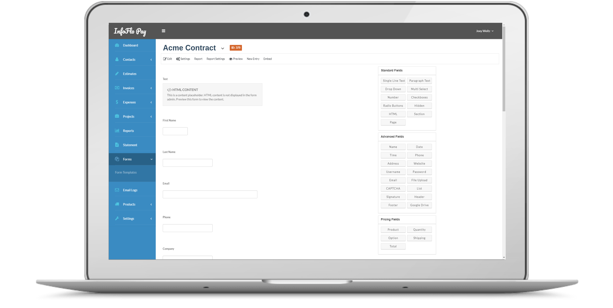 InfoFlo Pay: Build a Form