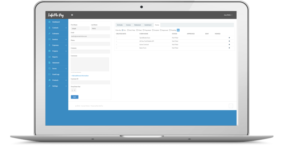 InfoFlo Pay: Form CRM View