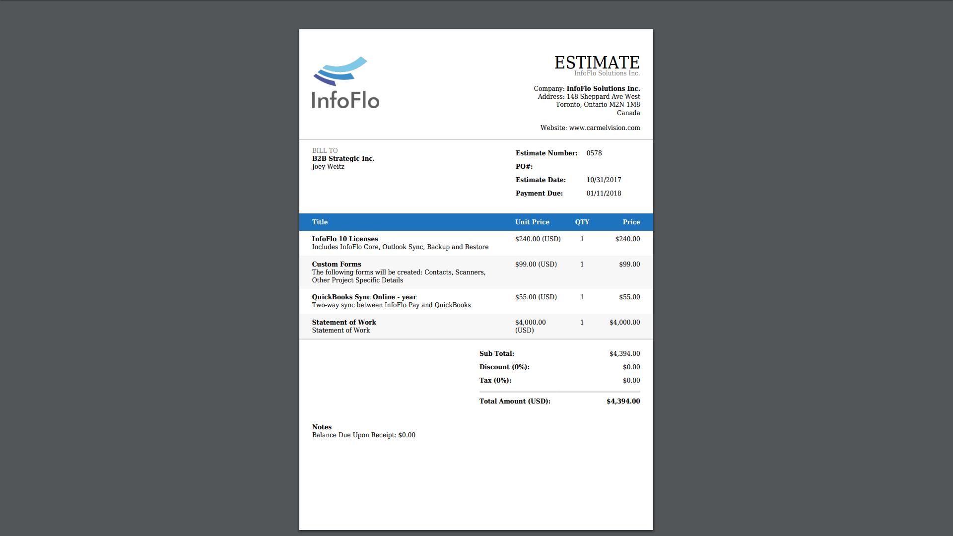 InfoFlo Pay: Estimate PDF