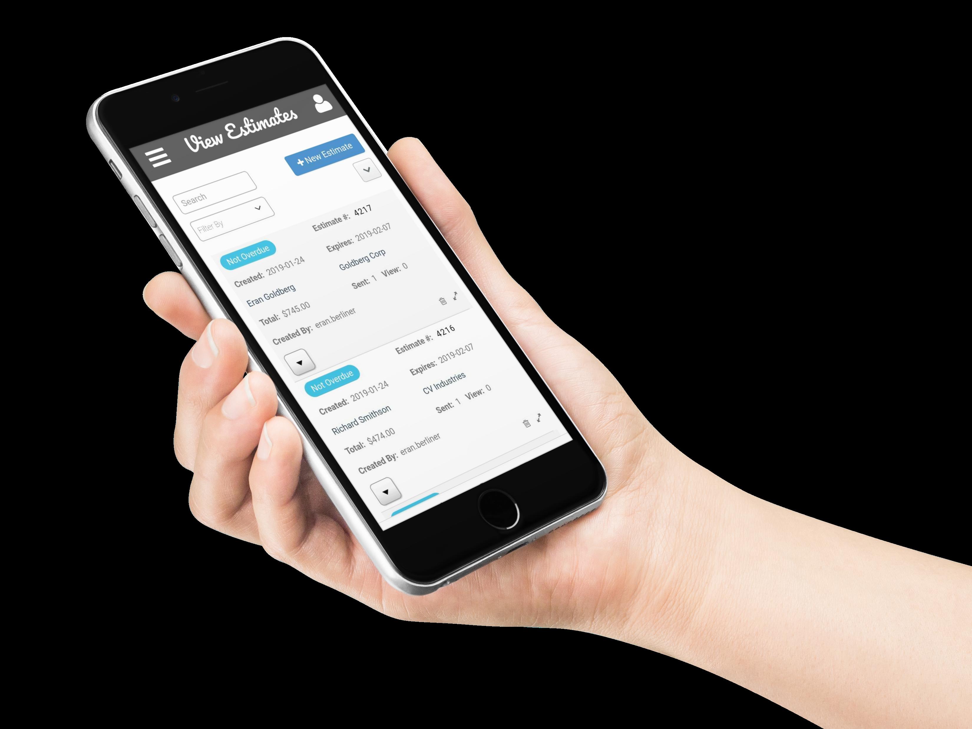 InfoFlo Pay Mobile: View estimates on mobile